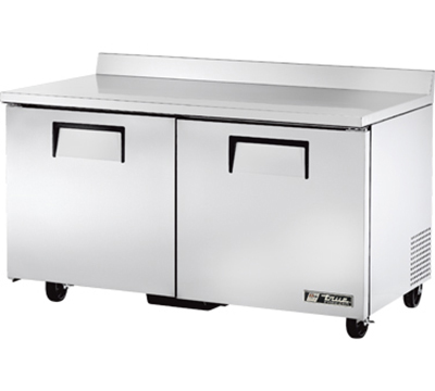"True TWT-60F 60"" Work Top Freezer - 2-Solid Doors, Aluminum/Stainless"