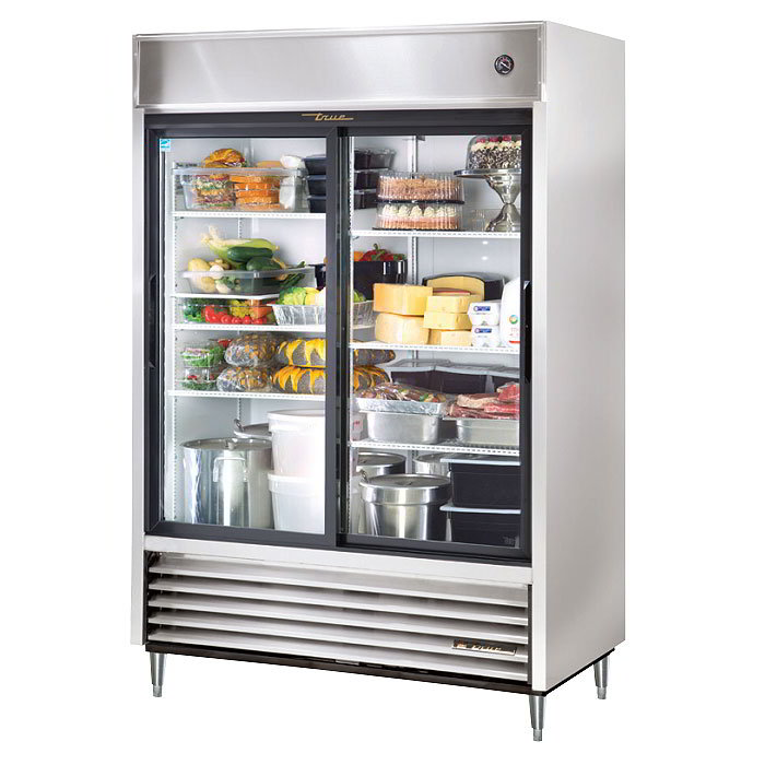 "True TSD-47G-LD 54"" Two Section Reach-In Refrigerator, (2) Gla"