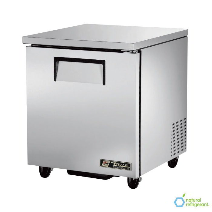 "True TUC-27 LH 27"" Undercounter Refrigerator - 1-Left Hinged Solid Door, Aluminum/Stainless"