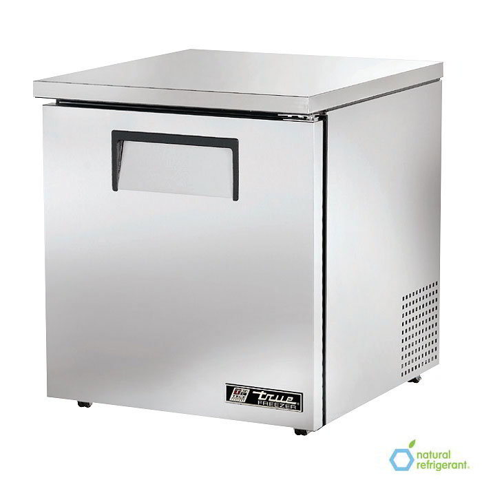 "True TUC-27F-LP LH 27"" Low Profile Undercounter Freezer - 1-Left Hinged Solid Door, Aluminum/Stainless"