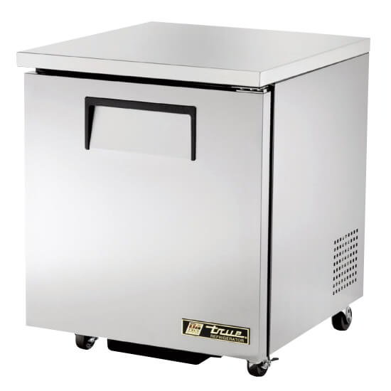 "True TUC-27-LH-ADA 27"" Undercounter Refrigerator - 1-Left Hinged Solid Door, Aluminum/Stainless, ADA"