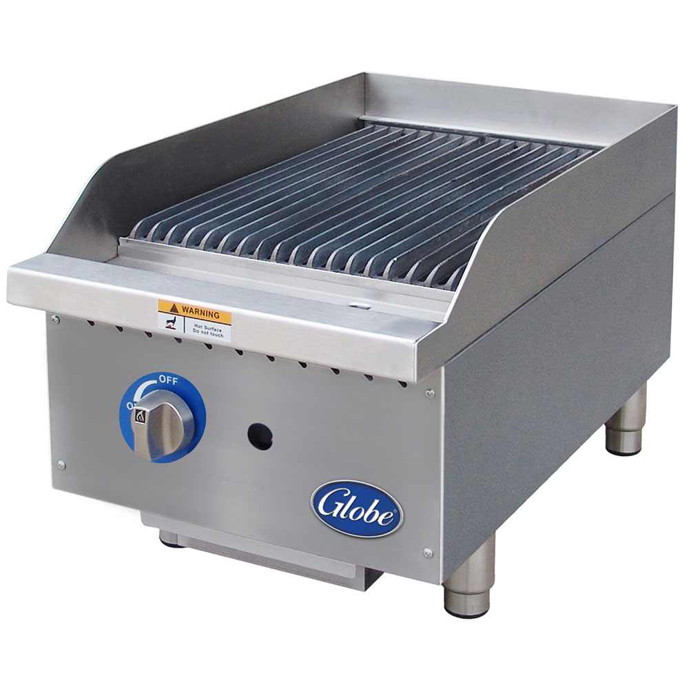 Globe GCB15G-CR 15-in Countertop Radiant Charbroiler w/ Cast-Iron Grates, NG
