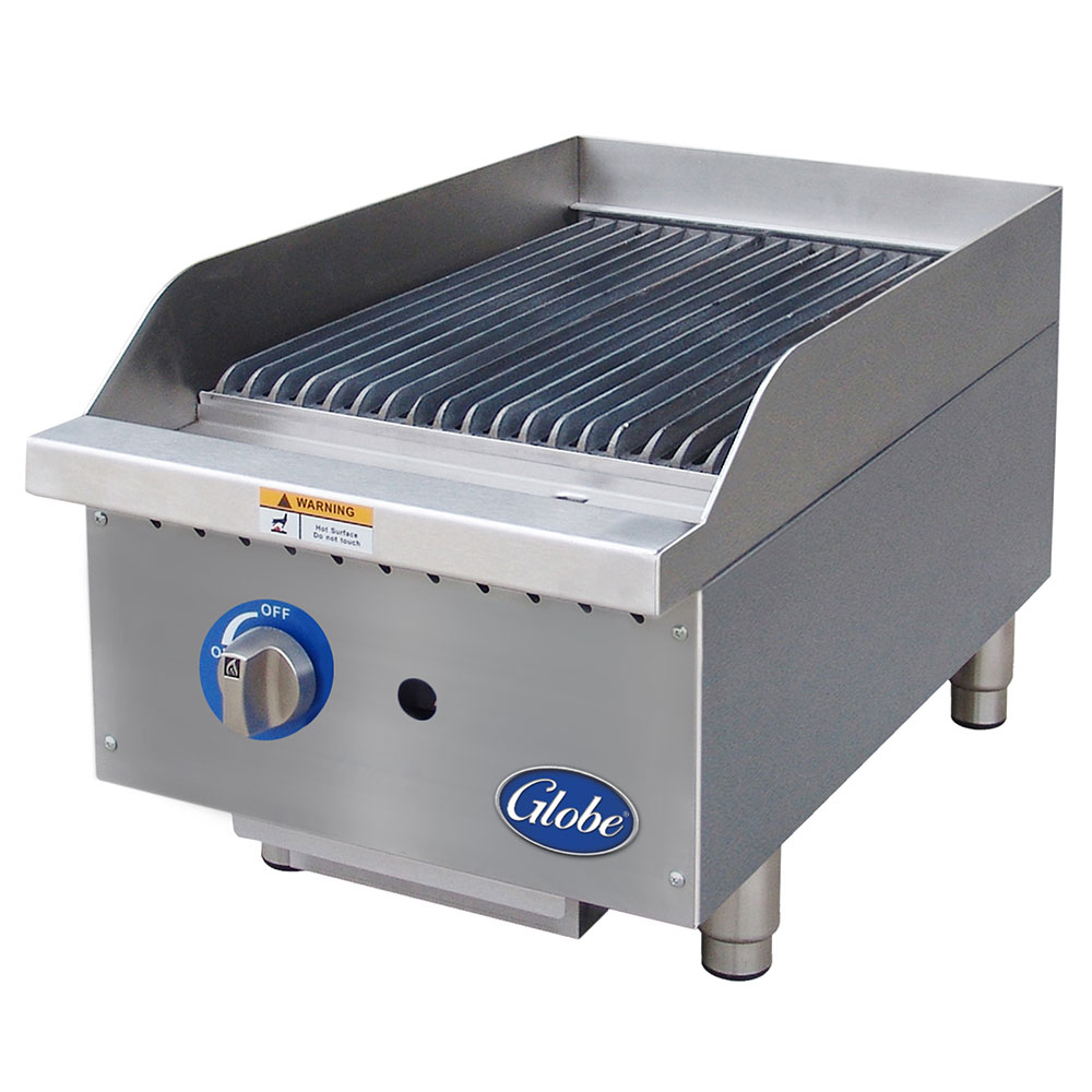 Globe GCB15G-RK 15-in Countertop Char Rock Charbroiler w/ Cool-Touch Edge, NG