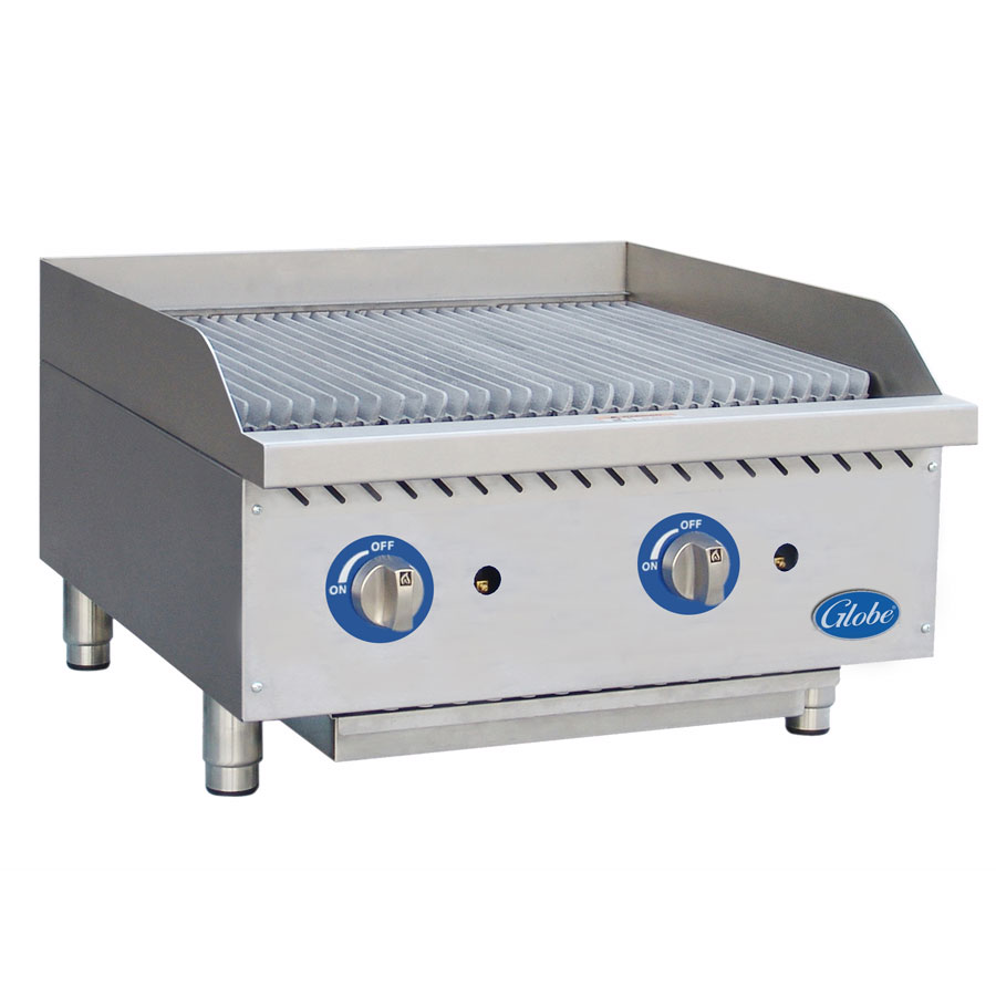 Globe GCB24G-SR 24-in Radiant Countertop Charbroiler w/ Cast-Iron Grates, NG
