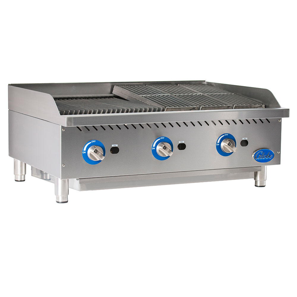 "Globe GCB36G-CR 36"" Charbroiler w/ Reversible Grates, Radiant, Stainless, NG"