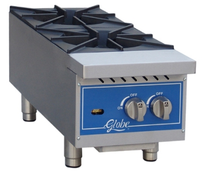 Globe GHP12G 12-in Hot Plate w/ 2-Burners, NG/LP