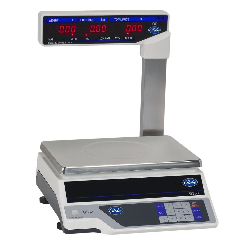 Globe GS30T Price Computing Scale w/ Tower, Tare, Accumulator, Auto Shut-Off