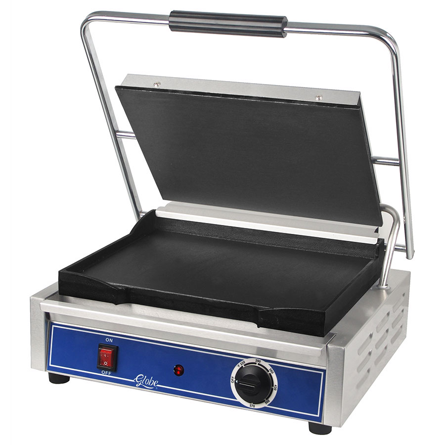 "Globe GSG1410 Sandwich Grill - 14x10"", Seasoned Cast Iron Smooth Griddle Plates, Stainless Steel"