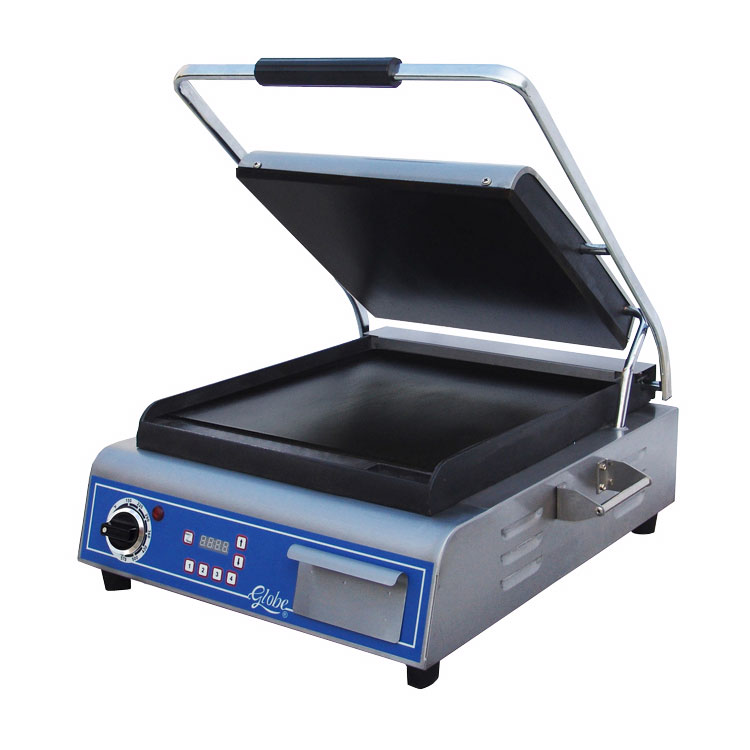 Globe GSG14D Single Sandwich Panini Grill w/ 14 x 14 -in Smooth Plates