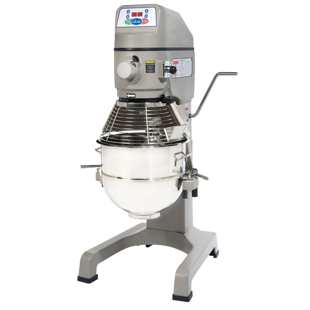 Globe SP30P 30-Qt Mixer w/ Bowl, Dough Hook, Wire Whip, Flat Beater, Chute