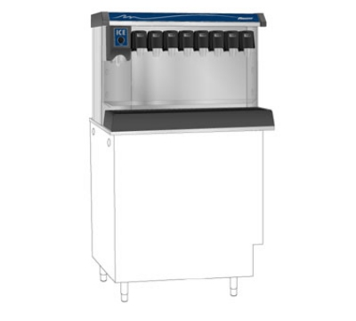 FOLLETT VU155B8RP Ice Beverage Dispenser w/ 8-Valve Drink Rail, 150-lb Bin, Right, 115 V