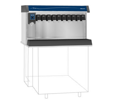 FOLLETT VU300M12RL Ice Beverage Dispenser w/ 12-Valve Rail, 300-lb Bin, Right, Lever, 115 V