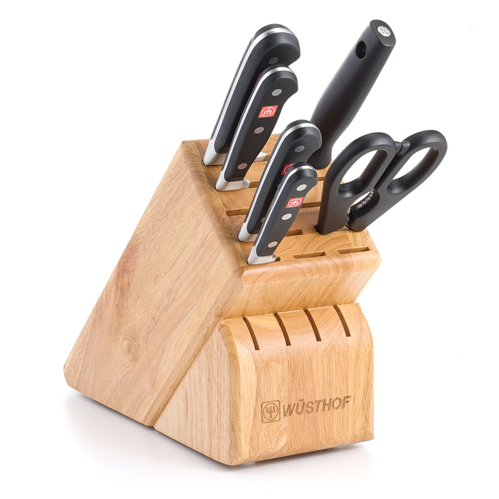 "Wusthof 7417 Knife Block Set - 3.5"" Paring, 6"" Utility, 8"" Bread & 8"" Cook's"