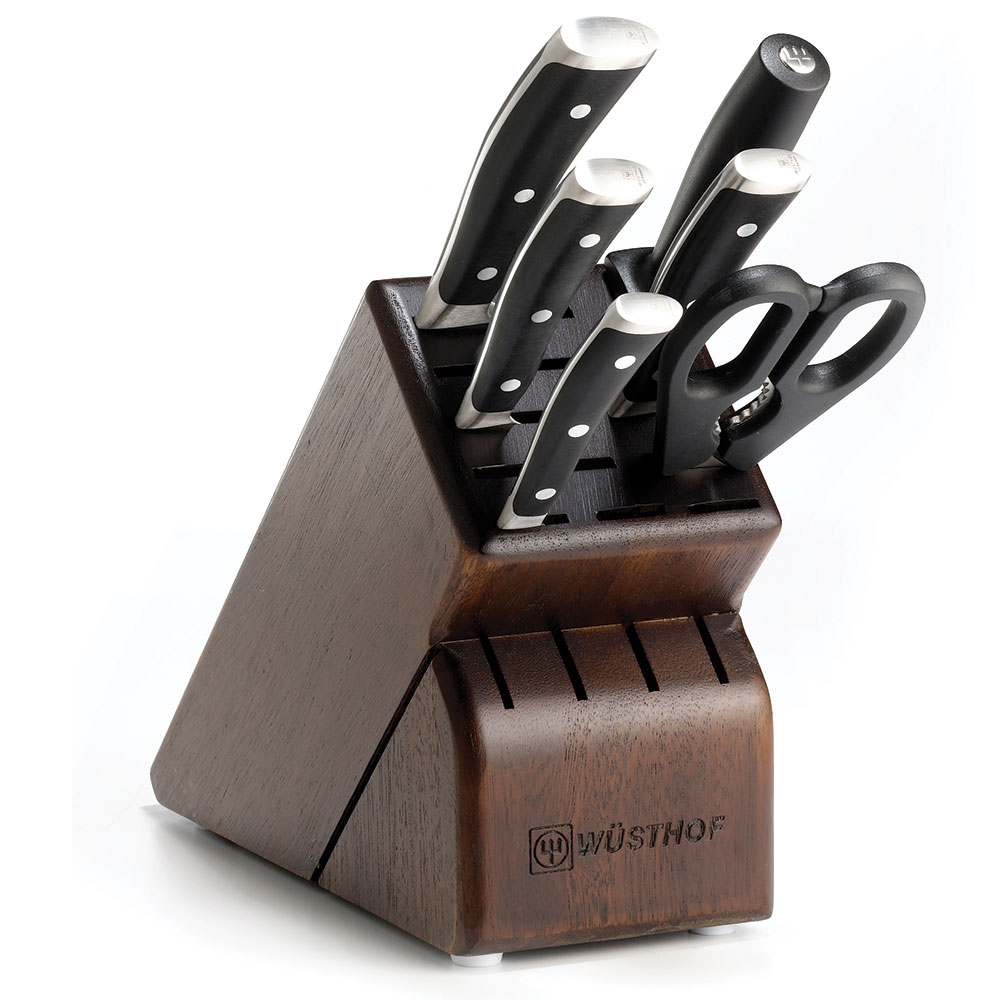 Wusthof 8347-33 7-Pc Ikon Walnut Block Knife Set, Three Rivets with Full Tang