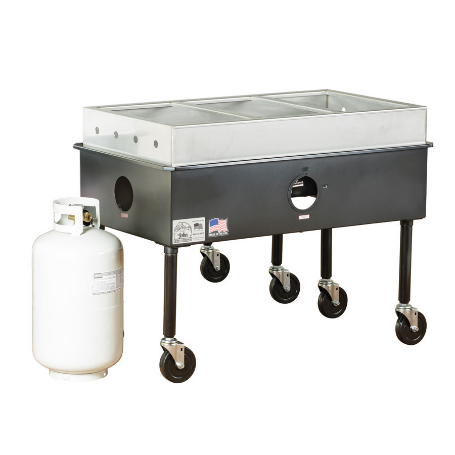 Big Johns Grills & Rotisseries ST-3 Portable 3-Bay Steam Table,