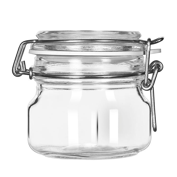 Libbey Glass 17207223 6.75-oz Glass Jar - Clamp Lid, Large Opening, Rubber Seal
