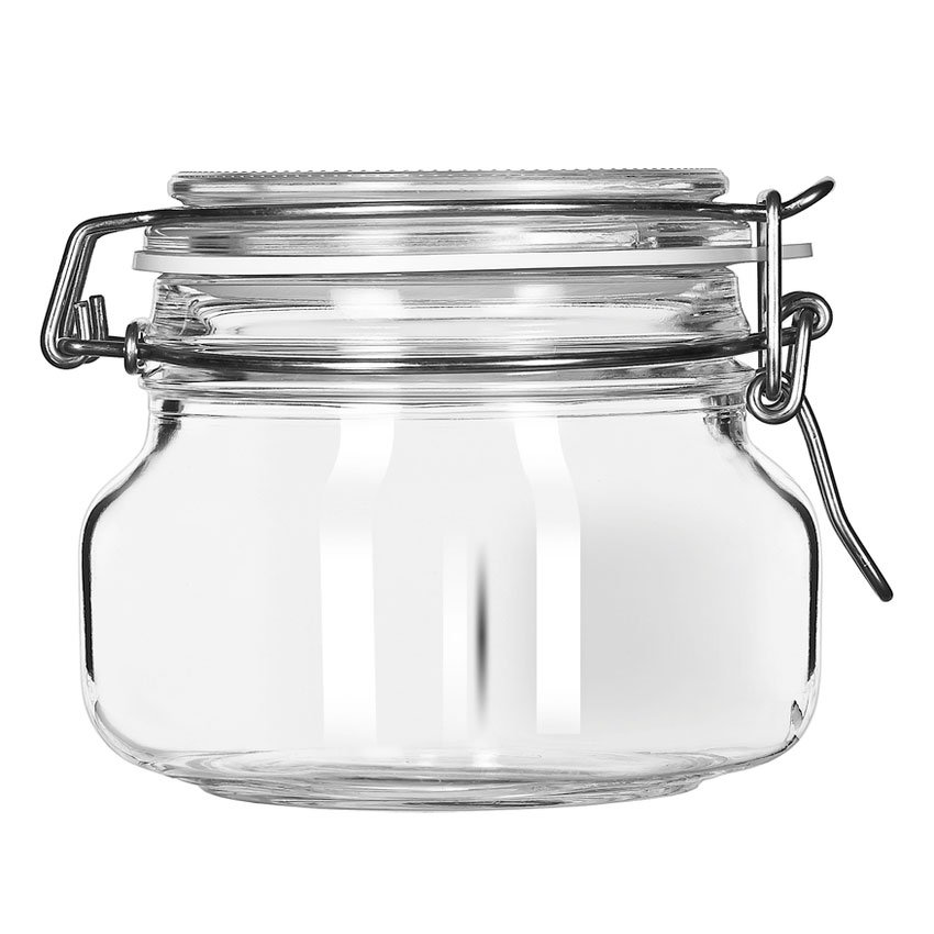 Libbey Glass 17208836 17-oz Glass Jar - Clamp Lid, Large Opening, Rubbe