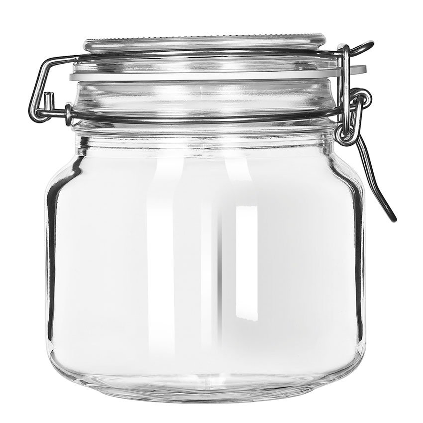 Libbey Glass 17209925 25.25-oz Glass Jar - Clamp Lid, Large Op