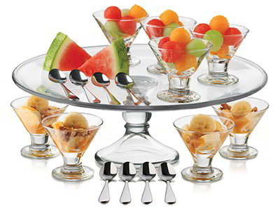 Libbey Glass 3801YS8 Just Desserts Mini Flare Set w/ 8-Bowls, 8-Spoons, Platter & Recipe Card