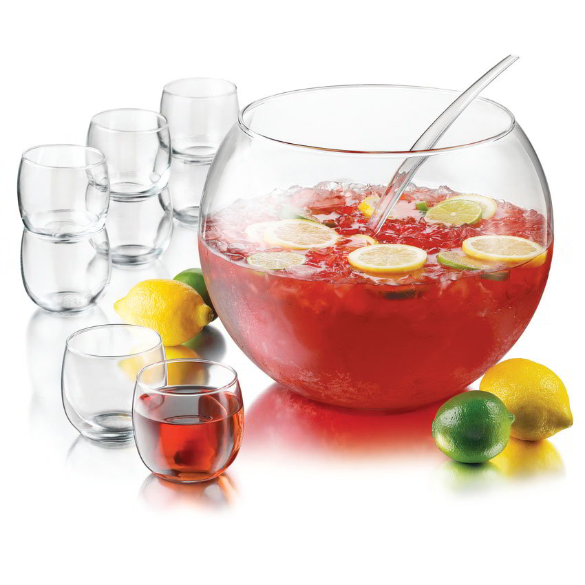 Libbey Glass 55466 Selene Punch Bowl Set w/ 1-Bowl, 8-Cups & Ladle