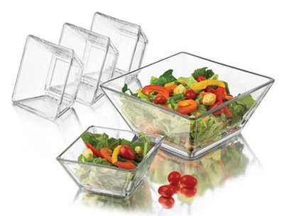 Libbey Glass 55701 Tempo Salad Set w/ 9-in Serving & 4-Salad Bowls