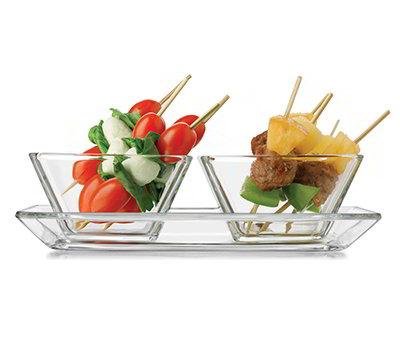 Libbey Glass 56123 Just Tasting Appetizer Set w/ 2-Square Bowls & Pla