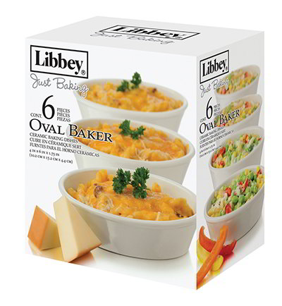 Libbey Glass 56233 6-Piece Just Baking Oval Baker Set