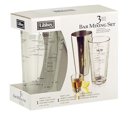 Libbey Glass 80320/33706 Bar Mixing Set w/ Mixing & Shot Glass, Stainless Shaker