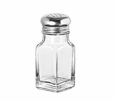 Libbey Glass 97052 2-oz Glass Square Salt Pepper Shaker w/ Stainless Steel Top