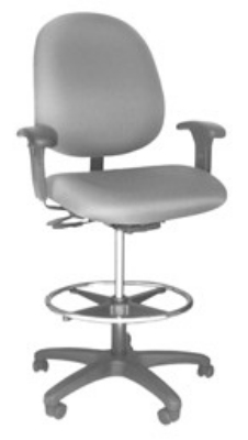 Ergocraft E-31754V-ST Stratus Task Stool w/ Medium Back & 2-Paddle Deluxe V Control, 20-in Footring