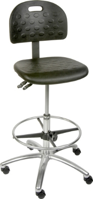 Ergocraft SS-22321-ST Polyurethane Grease Resistant Stool w/ 20-in Footring, Adjustable Height, Black