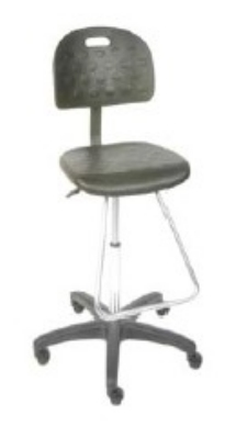 Ergocraft SS-22321-STFR Polyurethane Grease Resistant Stool w/ Chrome Footrest, Adjustable Height, Black