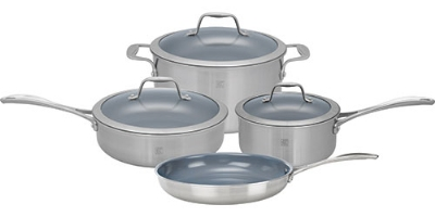 Zwilling J.A. Henckels 64080-000 7-Piece Set; 1-qt Sauce & 3-qt Saute Pan, 6-qt Dutch Oven w/ Lids, 10-in Fry Pan