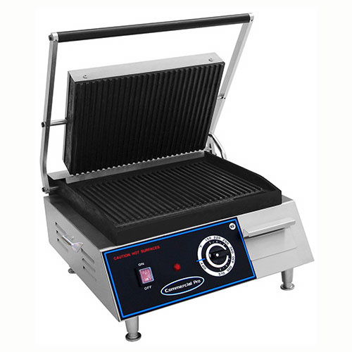 Commercial Pro CPPGM1 120V Panini Grill - Medium, Grooved 120v