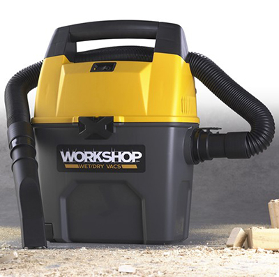 Workshop WS0300VA 3-gal Portable Wet/Dry Vacuum - 3.5-Peak HP, Hose, Car Nozzle, Filter & Dust Bag