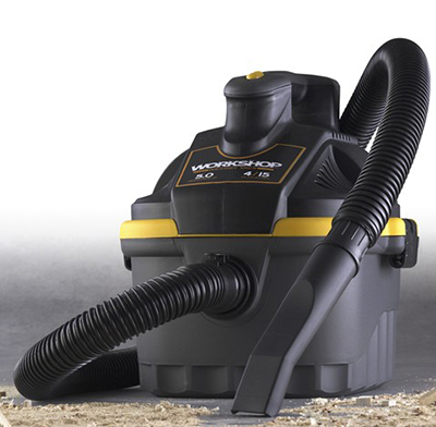 Workshop WS0400VA 4-gal Portable Wet/Dry Vacuum - 5-Peak HP, Hose, Car Nozzle, Filter