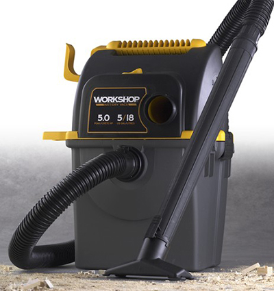 Workshop WS0500WM0 5-gal Wall Mounted Wet Dry Workshop Vac Vacuum w/ 5-Peak HP