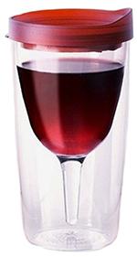 Wine Dweller W2GMERLOT 10-oz Wine Tumbler w/ 1-Piece & Clear Floating Interior, BPA Free, Merlot