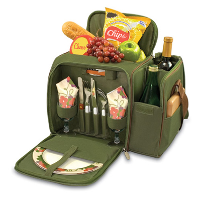 Picnic Time 508-23-515-000-0 Deluxe Picnic Service for Two - Insulated Cooler, Adjustable Strap, Olive Green