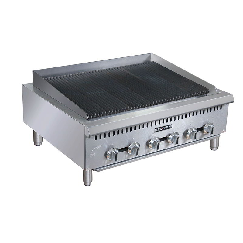 "Black Diamond BDCTC-36 36"" Countertop Charbroiler - Heavy Duty, 120,000 BTU, Stainless, NG"