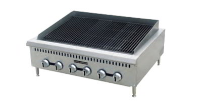 "Black Diamond BDCTC-36 LP 36"" Countertop Charbroiler - Heavy Duty, 120,000 BTU, Stainless, LP"