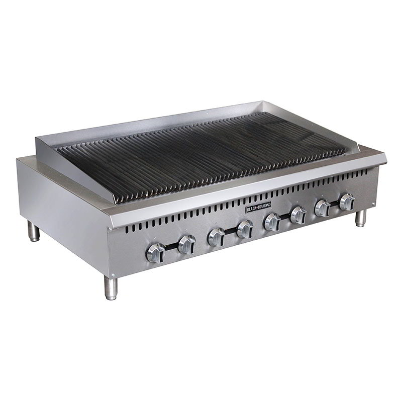 "Black Diamond BDCTC-48 48"" Countertop Charbroiler - Heavy Duty, 160,000 BTU, Stainless, NG"