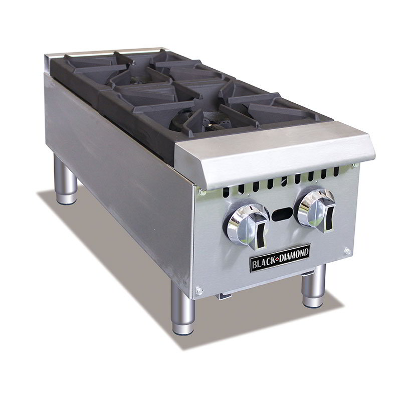 Black Diamond BDCTH-12 2-Burner Hot Plate - Heavy Duty, 50,000 BTU, Stainless, NG