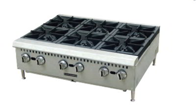Black Diamond BDCTH-36 LP 6-Burner Countertop Hotplate - Heavy Duty, 150,000 BTU, Stainless, LP