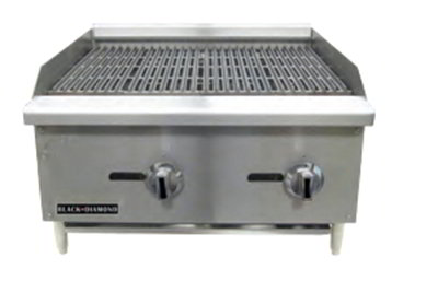 "Black Diamond BDECTC-24 LP 24"" Countertop Charbroiler - Standard, 60,000 BTU, Stainless, LP"