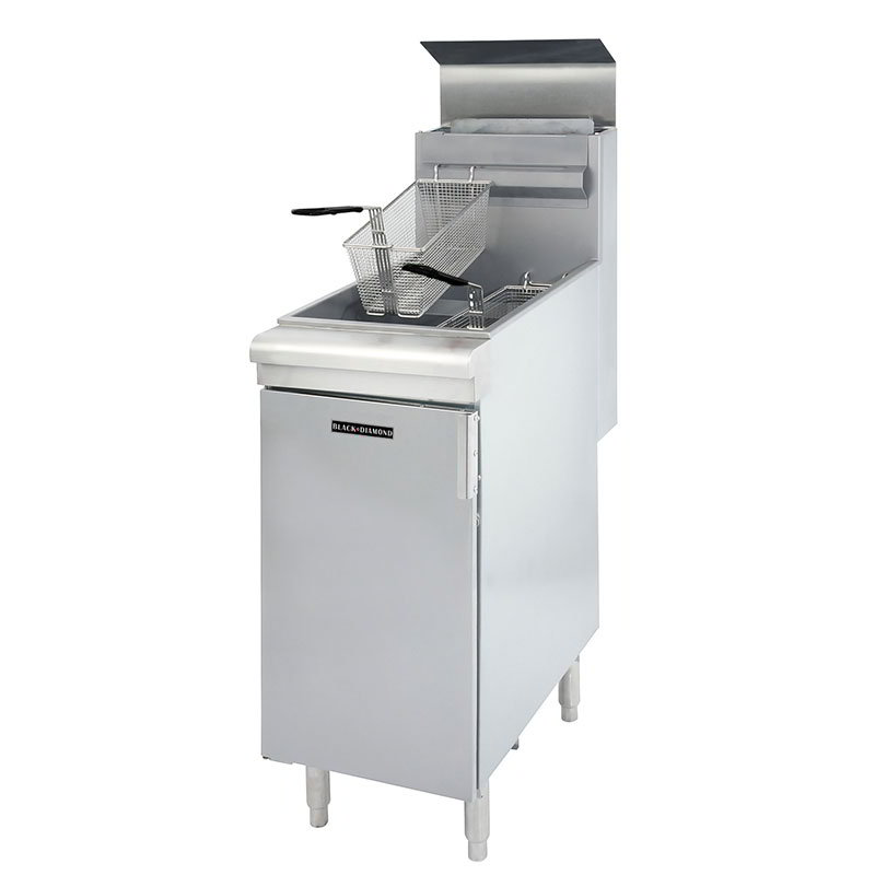 Black Diamond BDGF-90 NG Standing Deep Fryer - 40 lb Capacity, 2-Basket, 90,000 BTU, Stainless, NG