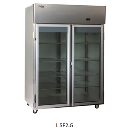 "Delfield Scientific LAF2-G 56"" Reach-In Freezer - (2) Glass Full Door, Aluminum/Stainless"