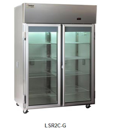 "Delfield Scientific LAR2C-G 56"" Chromatography Reach-In Refrigerator - (2) Glass Full Door, Aluminum/Stainless"
