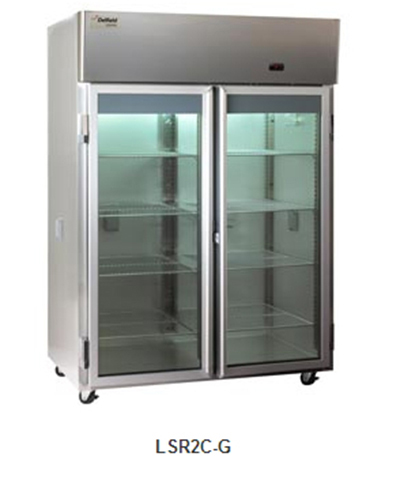 "Delfield Scientific LAR3C-G 83"" Chromatography Reach-In Refrigerator - (3) Glass Full Door, Aluminum/Stainless"