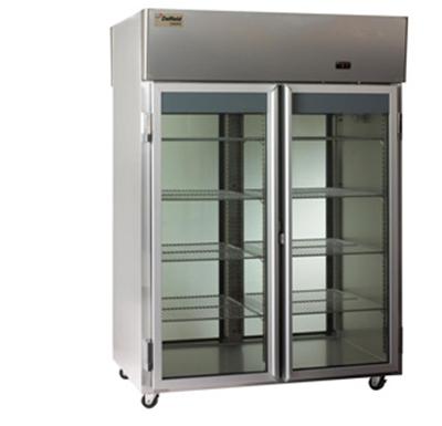 "Delfield Scientific LARPT2-G 56"" Pass-Thru Refrigerator - (2) Glass Full Door, Aluminum/Stainless"
